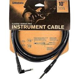 "Planet Waves PW-CGTRA-10 10' Classic Series 1/4"" Instrument Cable w/ Right Angle"